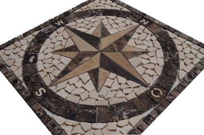 Mozaiek tegel van Crema Marfil marmer