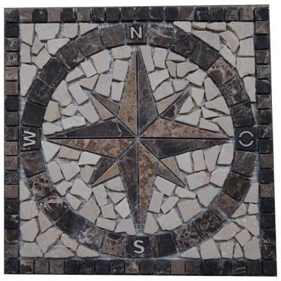 Mozaiek tegels van bruin creme en beige marmer