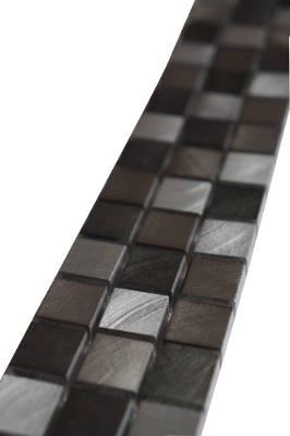 Mozaiek tegelstrip van aluminium en rvs
