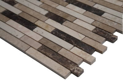 Mozaiek tegels in bruin en wit