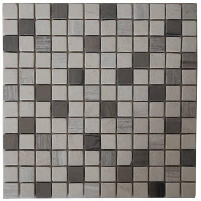 Natuursteen mozaiek tegels in wit en grijs