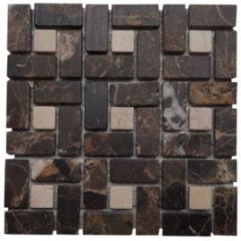 Mozaiek tegels bruin en wit