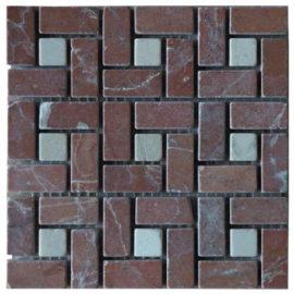 Mozaiek tegels van Roja Alicante marmer