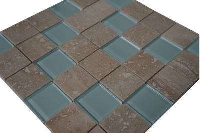 Glasmozaiek tegels met marmer natuursteen