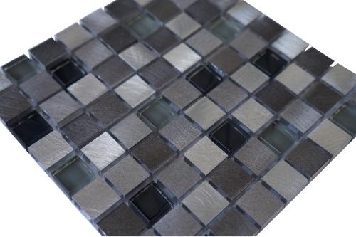 Mozaiek tegel aluminium glas 15x15cm M705 Topmozaiek24