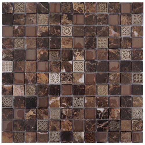 Mozaiek tegel marmer glas 30x30cm M672 Topmozaiek24