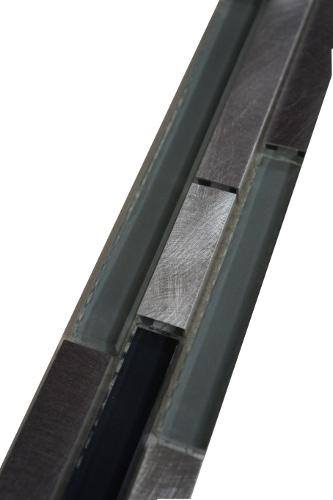 Mozaiek tegelstrip aluminium glas 5x30cm B703 Topmozaiek24