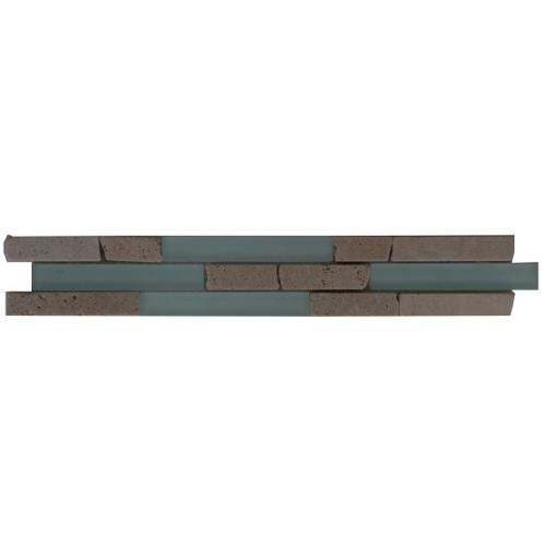 Tegelstrips Badkamer: Mozaiek Tegelstrip Van Travertin Marmer En Glas: Topmozaiek24
