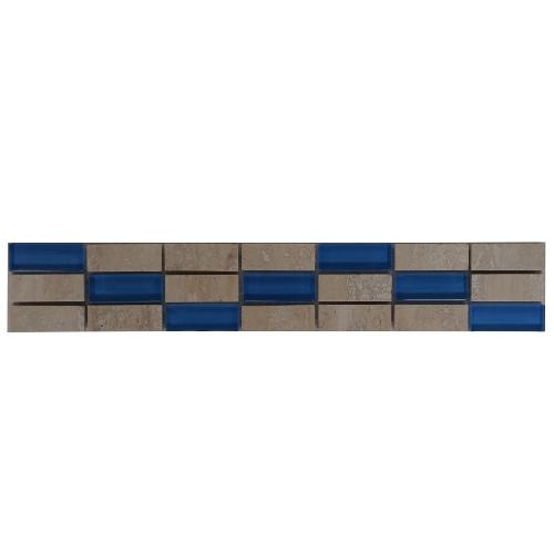 Mozaiek tegelstrip marmer glas 5x30cm B557 Topmozaiek24