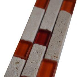 Mozaiek tegelstrip marmer glas 5x30cm B558 Topmozaiek24