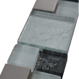 Mozaiek tegelstrip rvs glas 5x30cm B711 Topmozaiek24