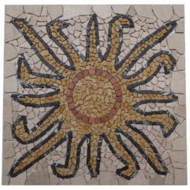 Mozaiek tegels in zon motief