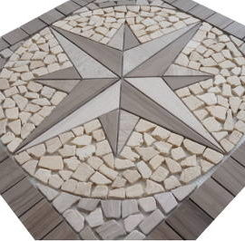Mozaiek steentjes in tegels