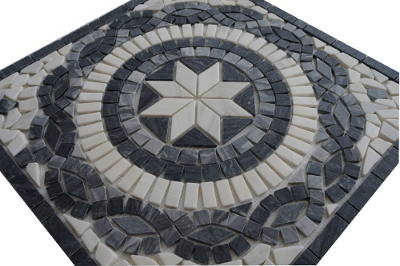 Mozaiek steetjes zwart en wit in medallion
