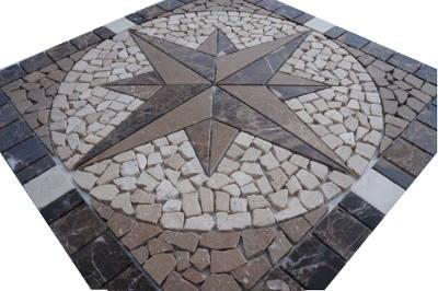 Marmer tegels in mozaiek windroos
