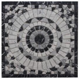 Mozaiek tegels van Bianco Carrara marmer in zwart wit