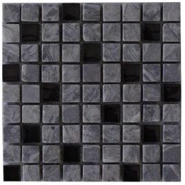 Grijze mozaiektegels met glas