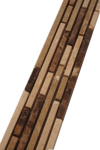 Mozaiek tegelstrip van smalle steenstrips