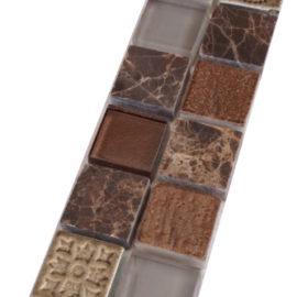 Mozaiek tegelstrip bruin grijs met ornamenten