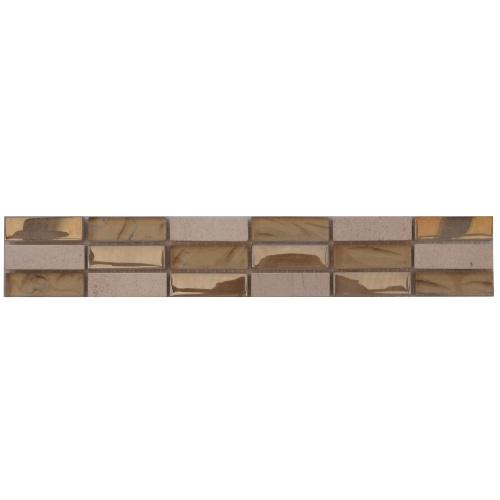 Tegelstrips Badkamer: Mozaiek Tegelstrip Van Botticino Marmer En Glas: Topmozaiek24